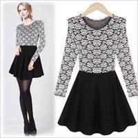91112 2014 women's fashion o-neck slim lace patchwork dress long-sleeve basic skirt  free shipping