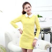 2014 spring and autumn formal women's basic skirt ladies small flower slim long-sleeve dress  free shipping