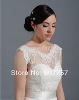 2014 Beautiful Wedding Bolero Jacket  Double Straps  Ivory White Tulle Alencon Lace Bridal Jacket  J1414
