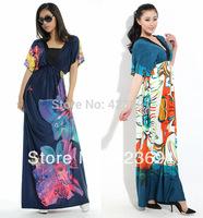 2014 long plus size dress bohemia ultra batwing sleeve long dress DH0012 Big Size L, XL, 2XL, 3XL, 4XL, 5XL, 6XL