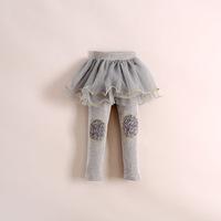 2014 hot sale fashion girls rose flower knees skirt leggings,kids tutu lace leggings gray blue