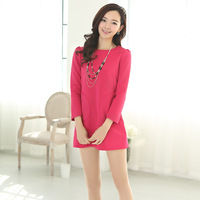 2014 spring new arrival elegant slim candy color pocket decoration one-piece dress  free shipping