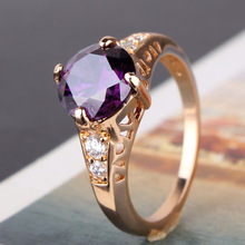2014 New Fashion 18k Gold Plated Purple Crystals CZ Finger Rings Love Gift For Women Girl  Wholesale Free Shipping (GULICX R118)