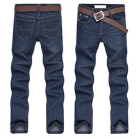 Indigo color men Jeans 2014 new fashion designer buckle denim brand denim warm long pants boyfriend jeansfor spring & autumn
