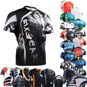 Лидером продаж многофункциональный мужская с коротким рукавом шея экипажа Fixgear спортивной подготовки фитнес топы рубашки спорт графический джерси тройник