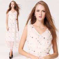 2014 Free Shipping Women Spring Summer Chiffon Placketing Full Dress Sexy Deep V-neck Butterfly Printed Sleeveless Vest