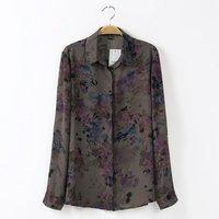 2014 New Women Floral Prints Casual Chiffon Blouse Ladies leisure Shirt,SW2123-G02
