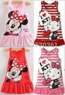 Детское платье с рисунком Микки Маус Минни, 2 цвета красное и розовое.