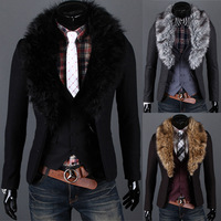 Free shipping hot sale new 2014 mens classic two buckle fur collar removable men slim leisure suit jacket blazer