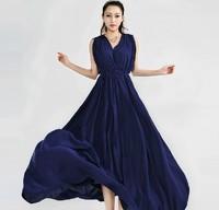 2014 Free Shipping New Hot Sale Women High Quality Pleated Bohemia Long Chiffon Dress