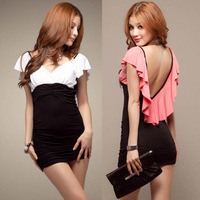 V-neck  laciness ultra-short slim sexy hip summer dress free/drop shipping new 2014 vestidos