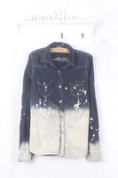 Gg442014 women's painted water washed denim shirt women's boutique top