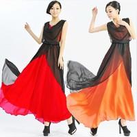 2014 Free Shipping New Summer Women Color Block Patchwork Sleeveless Ruffles Collar Slim Elegant Sexy Chiffon Maxi Long