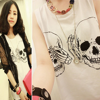 Women t shirt 2014 New Fashion Ladies Clothes Skull Print Vest Woman Skeleton tank Tops Tee Sleeveless Free Shipping