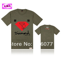 Free Shipping 2014 Stock new special new style famous brand diamond supply co white mens size t shirt with dropshipping DA8