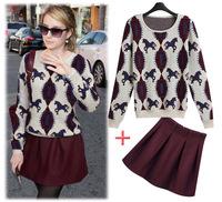 Spring fashion women's 2014 fashion quality sweater short skirt set women's o-neck casual set