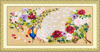 New arrival ribbon embroidery paintings peacock blooping 3d print big rich cross stitch