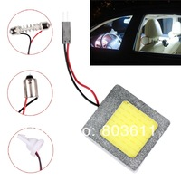 1 Pair (2pcs) T10 8W Aluminum Dome Festoon Car Interior License Plate COB LED Light Lamps