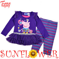 Wholesale 2014 Spring New Cartoon Pink Pig 2PC Sets Casual Clothing Tunic+ Leggings Clothes Free Shipping