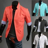 New 2014 fashion korean version men suit spring block decoration small mens blazer coat