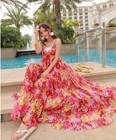 Chiffon dress summer printed sleeveless Bohemian dress floor-length hipster goddess dress van fashion women dress hot sale