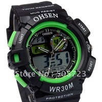 Free Ship Digital Multifonction Nightlight Chronograph Japan Movt Fashion Sports Display Men's Military Watch Green AD1021-G
