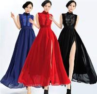 2014 Free Shipping  Spring Summer Women High Fashion Elegant Chiffon Lace Sleeveless Side High Slits Long Vest