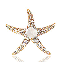 2014 Top quality Alloy 18K Gold Plated Luxury Rhinestone Satellite Crystal Starfish Brooch,Brooches Women Dress Corsage