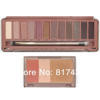 2pcs/lot Wholesale New NAKE Flushed Makeup 3 Colors Blush Blusher 12 Colors Eye shadow palette NK3 eyeshadow palettes brush,\