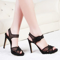 New 2014 Fashion poster paragraph of beautiful sexy lace cross straps open toe high thin heels sandals