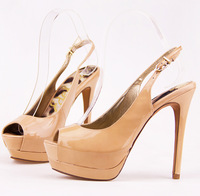New 2014 Fashion sexy sweet nude color genuine leather open toe after with high-heeled sandals plus size women's shoes