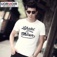 2014 spring men's clothing slim o-neck short-sleeve T-shirt male 100% white cotton embroidery shirt