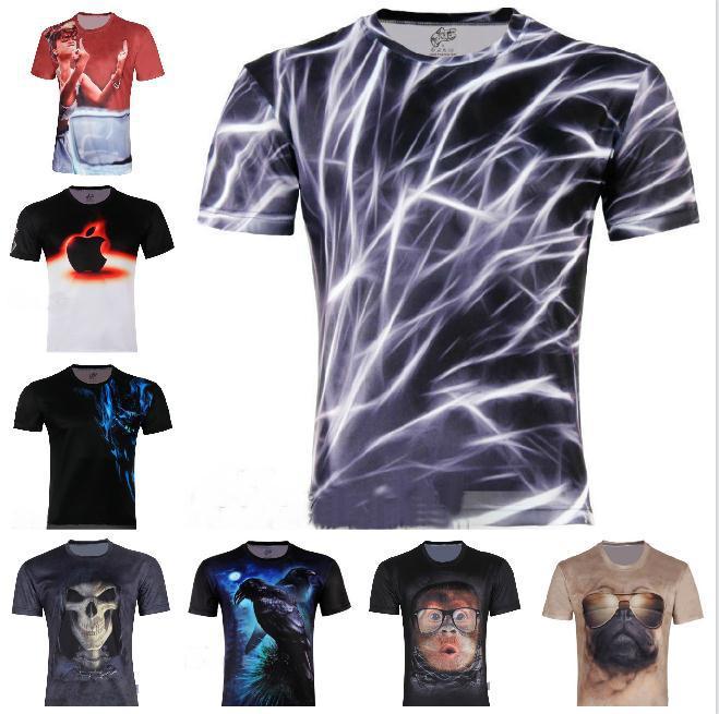 Men's Fashion 3D Animal Creative T-Shirt, Finger/flash/crow/monkey 3d printed short sleeve T Shirt A18,S-6XL,Free Shipping()