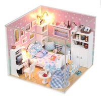 Free shipping DIY 3D wooden doll house dollhouse miniature furniture set Fantasy Room Box with dust cover and lamp