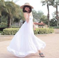 The 2014 summer big condole belt white cotton dress fashion women Bohemian dress hot sale free shipping