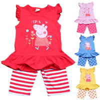 325 hot sale 2014 new fashion peppa pig girls sets 100% cotton summer children sets 3~9age 4sets/lot