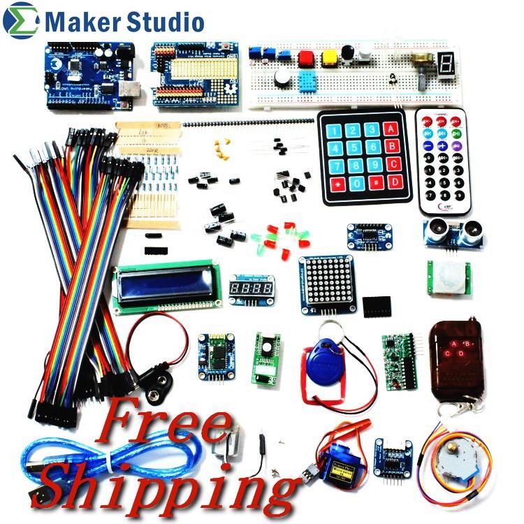 Deluxe Kit for Arduino UNO R3 Starter Kit W/ LED Matrix/Motion Sensor/Breadboard/LCD/Blueooth/RF/Motor/Servo/Keypad/others(China (Mainland))
