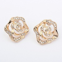 Top Quality 2014 New Fashion Cute Rose Flower Filled Shiny Rhinestones Earrings For Women E1185