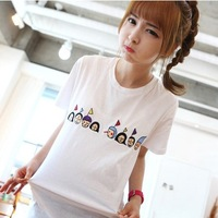 2 2014 summer loose cartoon embroidered lilliputian o-neck short-sleeve t female 100% cotton t shirt