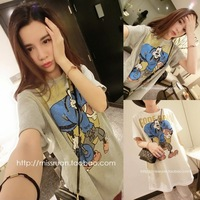 Honey HARAJUKU basic shirt female summer 2014 cartoon graphic patterns casual short-sleeve Loose t-shirt