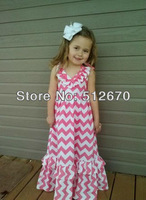 2014 Summer Hot sell !Baby clothing Girls dress Maxi halter chervon dress