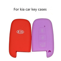100pcs/lot silicon key bag for kia key case cover silicone high quality light blue orange black purple  customized key cover car