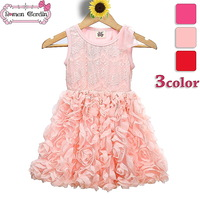 2014 girls summer dress kids princess dress with bow children lace pink clothes 3 color for 3-8 years