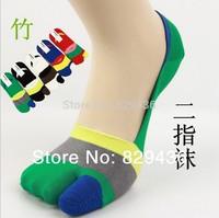 Free Shipping (6pairs/lot) new arrival BAMBOO FIBER summer INVISIBLE sock, two Toes socks Fingers men sock, anti-slip Boat socks
