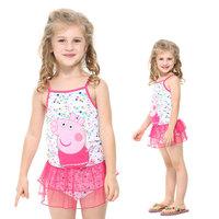 2014 European Style Summer Children Girls Peppa Pig Swimwear One Piece Swimsuit Sport for Girls Bathing Suits Costume Girl Baby
