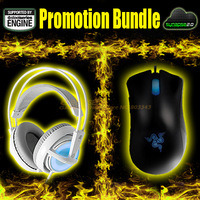 Promotion Bundle, Razer Deathadder 3500DPI + Steeleeries Siberia Frostblue, Brand New Free Shipping