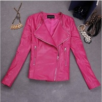 2014 new arrival LIKE A STAR DRAMA same style hot pink sheepskin genuine leather fashion women short style jacket
