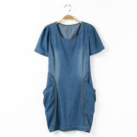 2014 summer  denim dress plus size o-neck short-sleeve casual dress large pocket water wash denim skirt free shipping