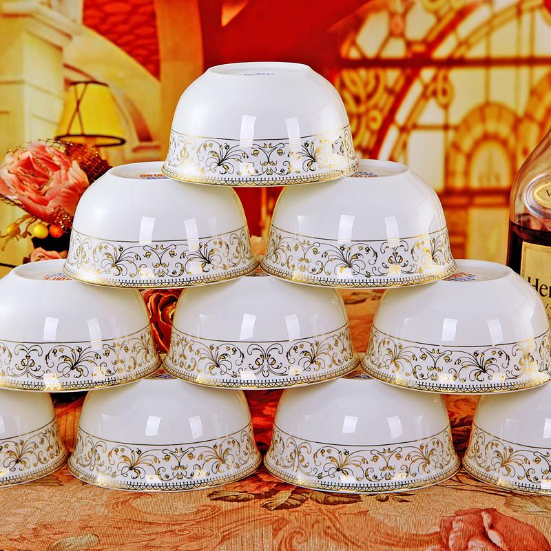 Ceramics bone china bowl of rice set gold bordered single bowl 10 4.5 fashion single bowl(China (Mainland))