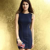 Fashion Sexy 2014 New Summer Women one-piece Dress Sleeveless Denim Dark Blue Blue Rivets Punk Style Free Shipping HF2861